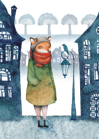 Strange fox walking in a mysterious town with crooked houses, lonely lanterns and broccoli trees. Watercolor illustration. Stock Photo