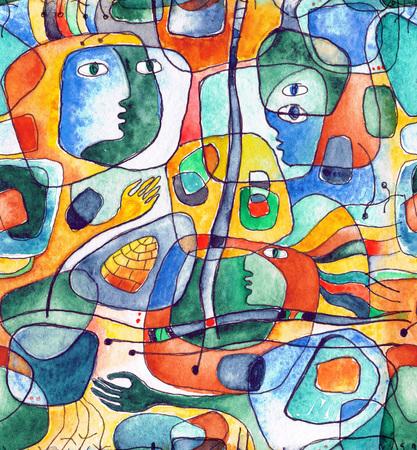 Cubista de patrones sin fisuras con líneas y caras pintadas en acuarela.