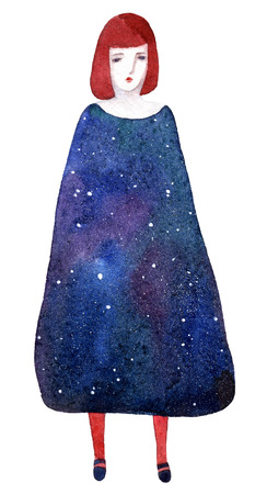 A red-haired girl in a dress with outer space inside, painted in watercolor and isolated on white background. Stock Photo