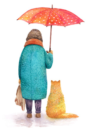 A cat and a girl hiding together under un umbrella. Watercolor illustration. Stock Photo