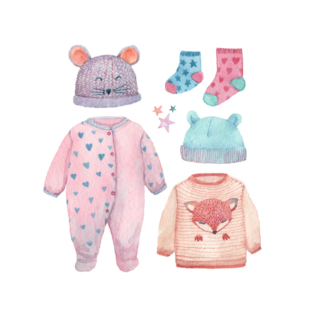 A set of baby clothes painted in watercolor: romper suit, socks, cute hats and a little sweater. Фото со стока - 96479779