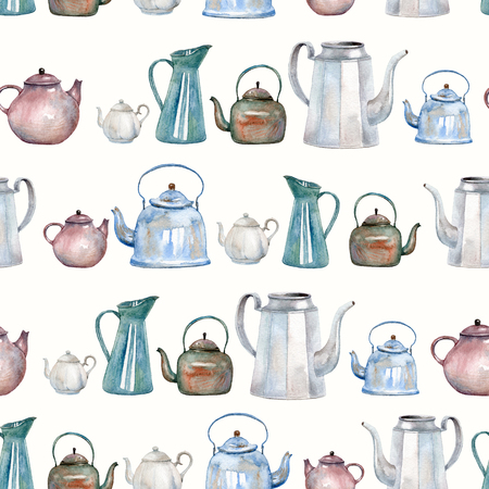 A seamless pattern with vintage kettles and teapots painted with watercolor. Tea time backfround for fabric, kitchen wallpapers, gift wrapping paper, scrapbooking. 免版税图像