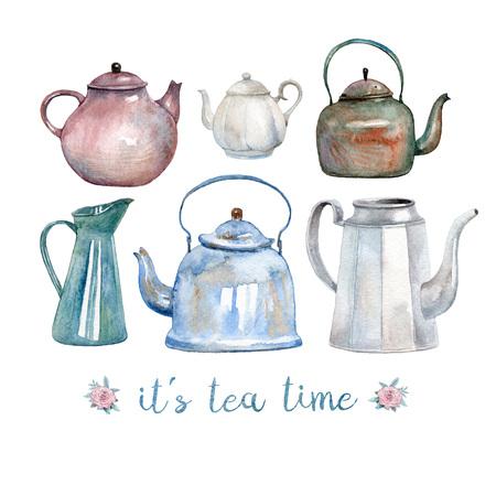 Een set van zes vintage aquarel waterkokers en theepotten beschilderd met waterverf. Een gezellige wenskaart voor theetijd.