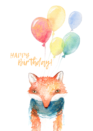 A happy birthday card with watercolor fox and balloons. Isolated on white background.