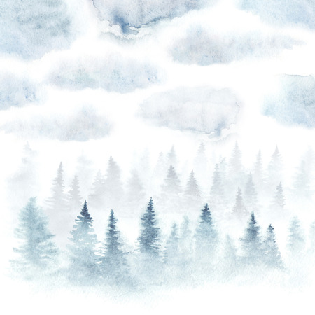 Foggy forest under the cloudy sky painted with watercolor. Winter landscape. Square card isolated on white background. Banco de Imagens