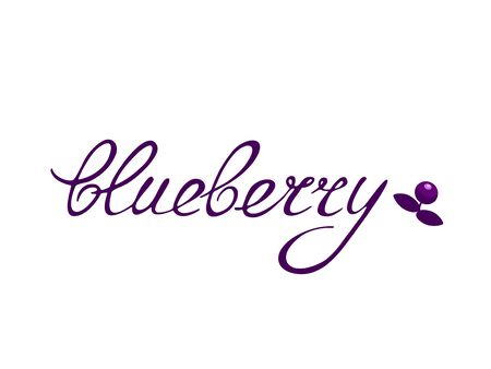 Blueberry with green leaves. Lettering. Jam