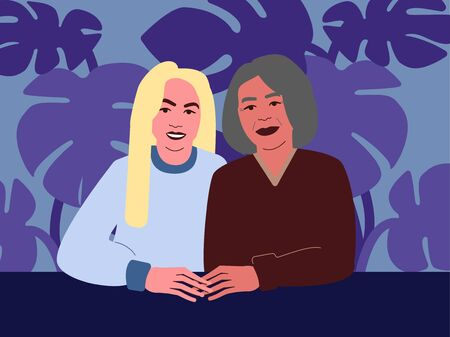 Adult Daughter and mother. Vector illustration in blue colors.  イラスト・ベクター素材