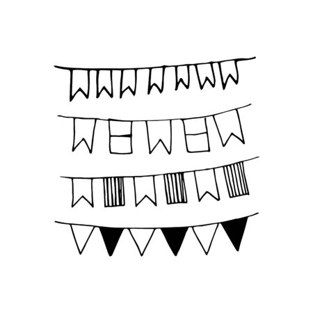 Festival flags doodle. Vector illustration