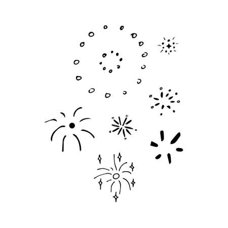 Rocket firework doodle. Vector illustration