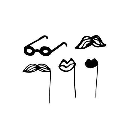 Hand-draw mask doodle. Vector illustration Ilustração