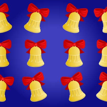 Gold bell on blue. Pattern. Vector illustration