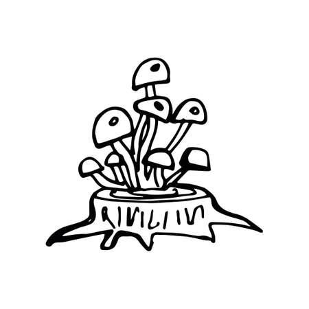 Hand-drawn mushrooms doodle autumn set. Vector illustration