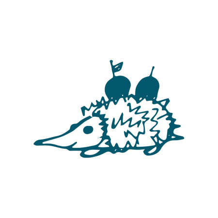 Hand-drawn hedgehog with apples . Vector illustration