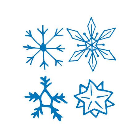 Hand drawn doodle snow flakes set. Vector illustration