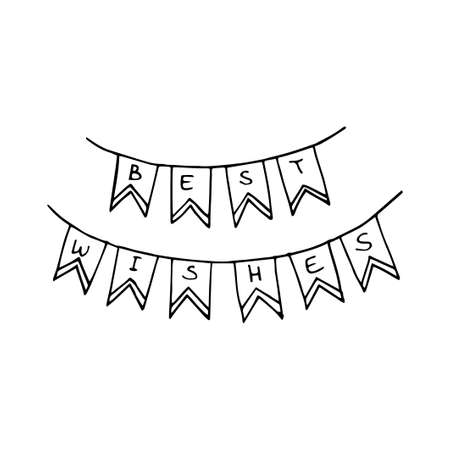 Hand drawn garland doodle Best Wishes. Vector illustration