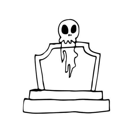 Doodle headstone set. Halloween spooky decoration. Vector illustration