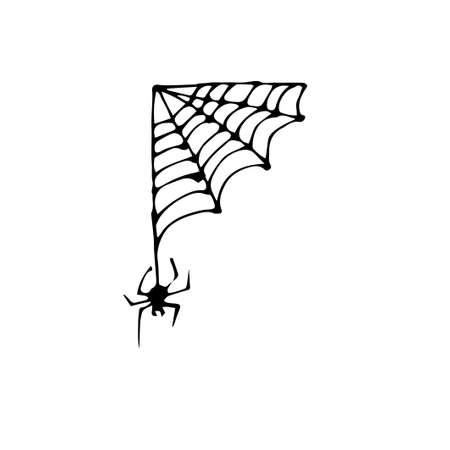 Doodle spider web set. Halloween vector decoration. Vector illustration