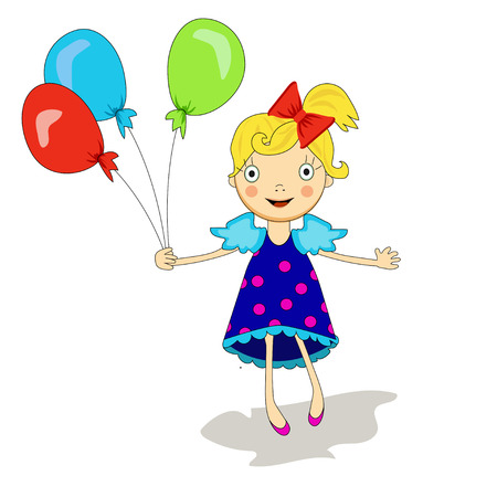 girl in dress with blonde hair and with balloons, bright colors, blue, red, green Stock Illustratie