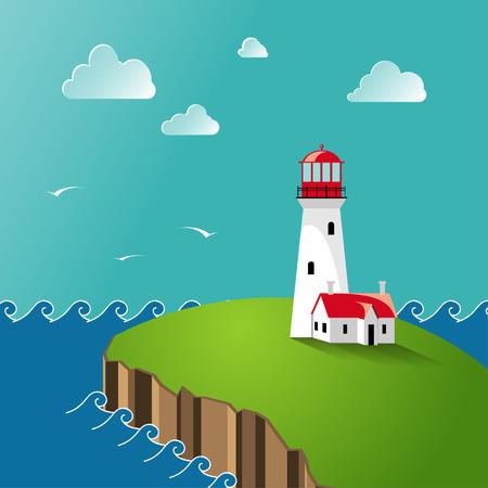 Lighthouse on the seashore.