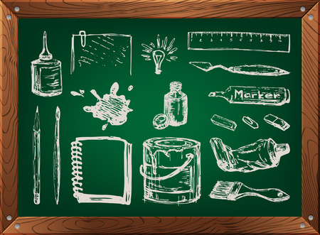 Hand drawn set of art supplies on green chalkboard