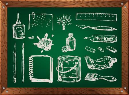 art supplies: Hand drawn set of art supplies on green chalkboard