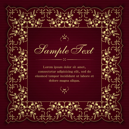 Invitation or greeting card template with vintage floral ornamental decor in yellow and burgundy colors