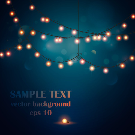 strings: Abstract background. Glowing light bulbs design