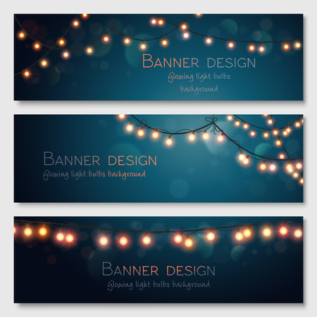 website header: Glowing light bulbs design.