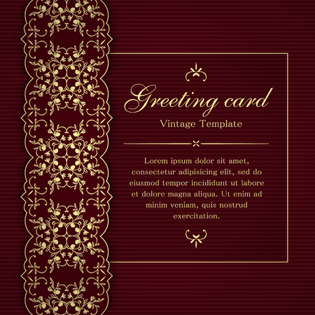 Invitation or greeting card template with vintage floral ornamental decor in yellow and burgundy colors.