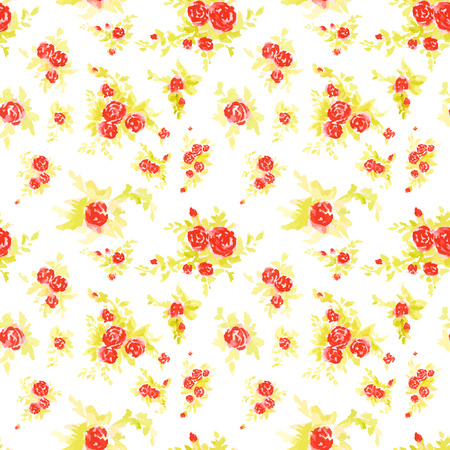Seamless floral pattern with of red roses on white background. Watercolor hand dawn art.