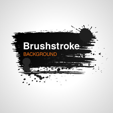 Brushstroke banner template. Grunge style text frame Vectores
