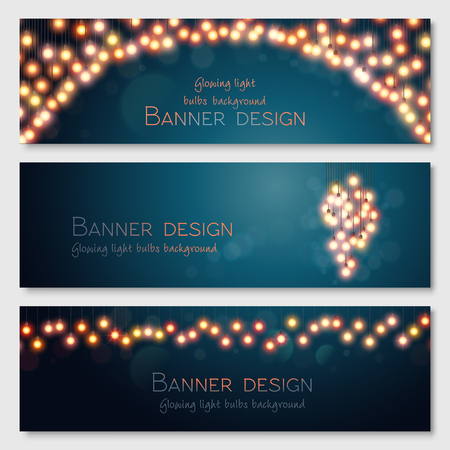 blue red: Glowing light bulbs design. Vector banners set. Website header template.