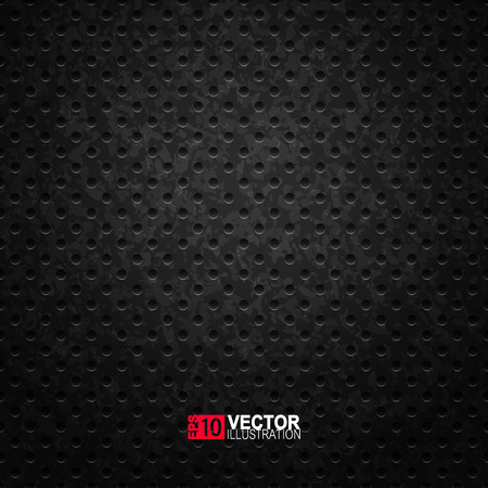 Perforated black metal grill surface. Vector  industrial background. Abstract metal texture.