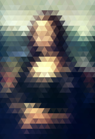 famous painting: The Mona Lisa. Vector illustration of the famous portrait formed with triangular mesh