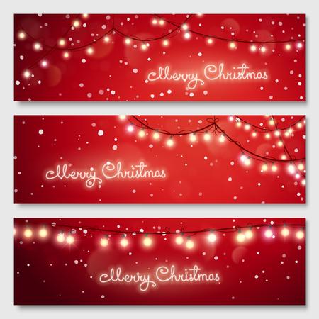 Christmas illustration. Glowing light bulbs design. Vector banners set. Website header template.