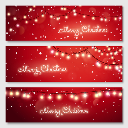christmas backdrop: Christmas illustration. Glowing light bulbs design. Vector banners set. Website header template.