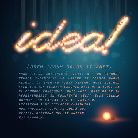 Glowing light bulbs design. Text frame template.