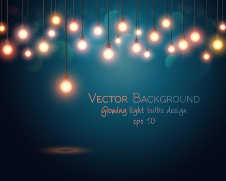 licht: Glühende Glühlampen-Design. Zusammenfassung Hintergrund. Vektor-Illustration