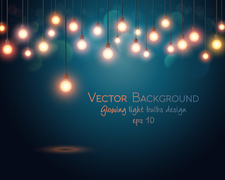 bright card: Glowing light bulbs design. Abstract background. Vector illustration
