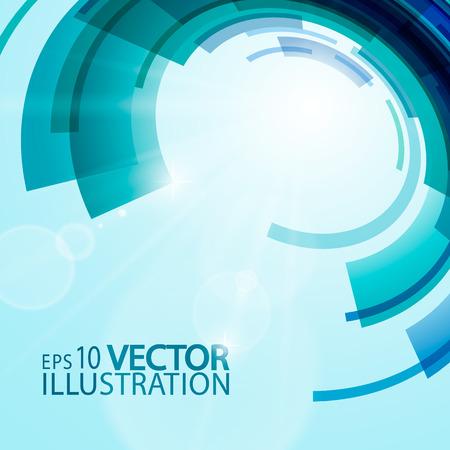 Abstract background of  techno circles in blue shades. Illusztráció