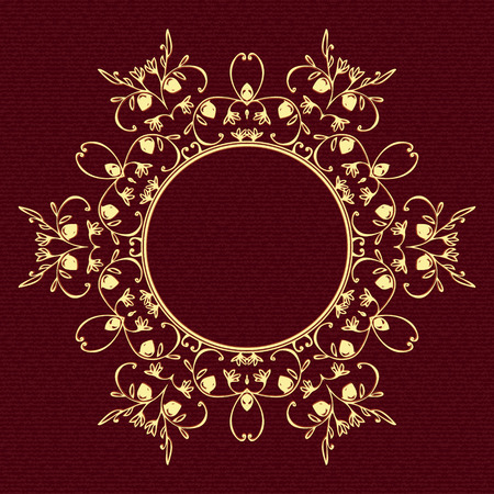 Circular floral pattern in yellow shades on burgundy background.