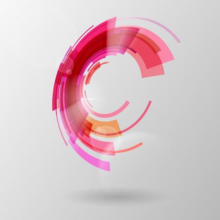 Abstracte achtergrond van techno cirkels in de kleuren rood en oranje tinten. Stock Illustratie