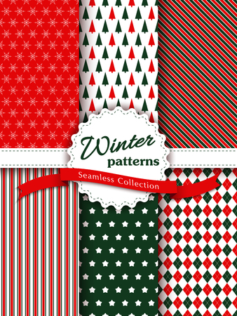Collection of seamless patterns with red, white and colors. Merry Christmas and Happy New Year set of winter holiday backgrounds. Vector illustration. Vector seamless pattern Vectores