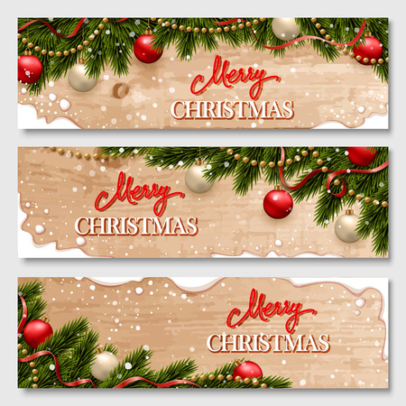 Chistmas banners set with fir branches decorated with ribbons, red and gold balls and garlands. With snow frames and wood texture background.