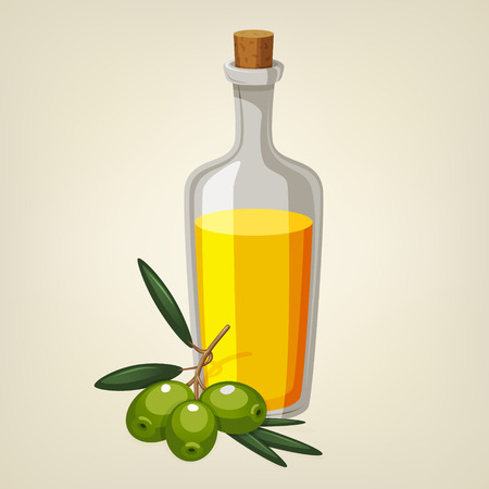 vegetable cook: bottle of olive oil with a branch of green olives. Cartoon style icon. Illustration