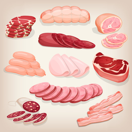 Collection of various delicious meat products. Restaurant menu illustration. 矢量图像