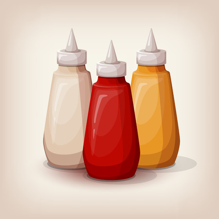 sauces: Set of delicious fast food sauces. Bottles collection of tomato ketchup, yellow mustard and mayonnaise. Cartoon style icon. Restaurant menu illustration. Illustration