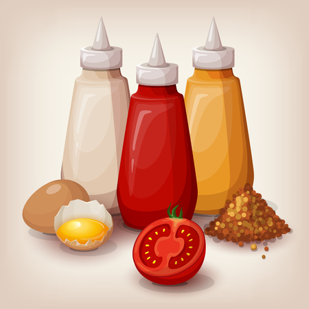 catsup bottle: Set of delicious fast food sauces. Bottles collection of tomato ketchup, yellow mustard and mayonnaise. Cartoon style icon. Restaurant menu illustration. Illustration