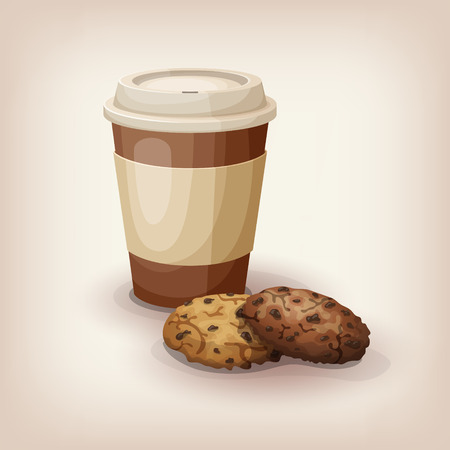 A quick snack to go. Disposable cup of coffee and traditional chocolate chip cookies. Cartoon style icon. Restaurant menu illustration.