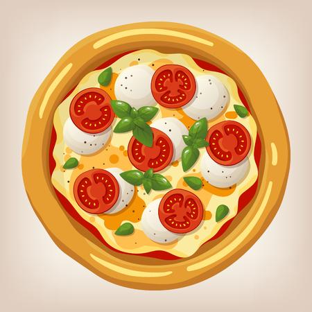 Ilustración vectorial de pizza Margherita. conjunto de pizza. icono de estilo de dibujos animados. Menú del restaurante ilustración. Foto de archivo - 54563029